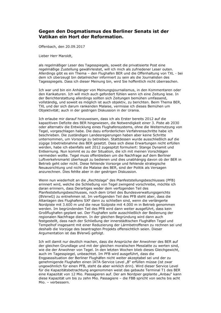 Leserbrief Dieter Faulenbach da Costa an den Tagesspiegel